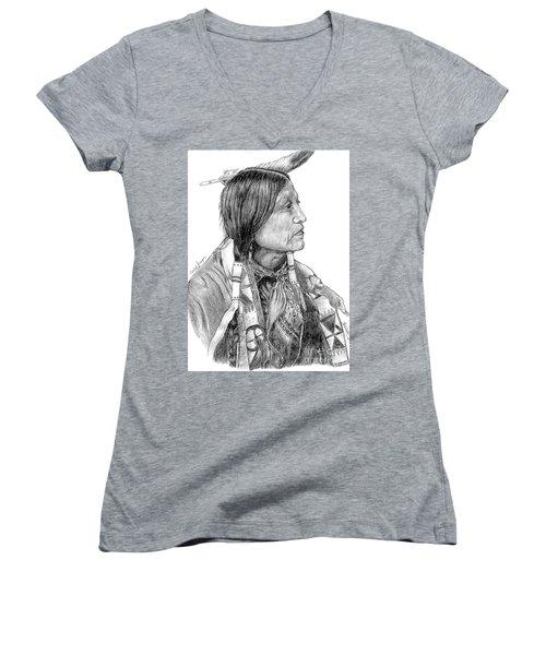 Chief Joseph Of Nes Perce Women's V-Neck T-Shirt (Junior Cut) by Bill Hubbard