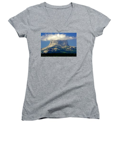Chief Mountain, With Its Head In The Clouds Women's V-Neck T-Shirt