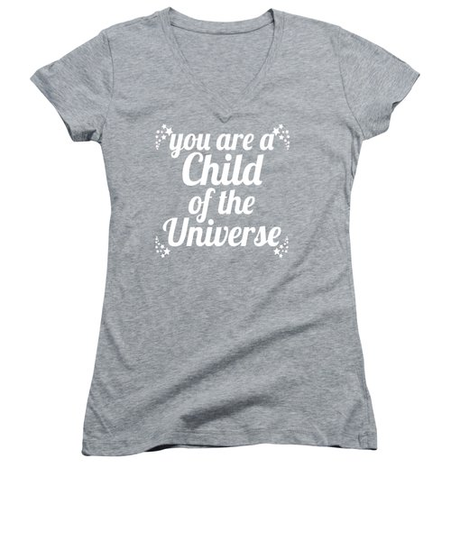 Child Of The Universe Desiderata - Blue Women's V-Neck T-Shirt (Junior Cut) by Ginny Gaura