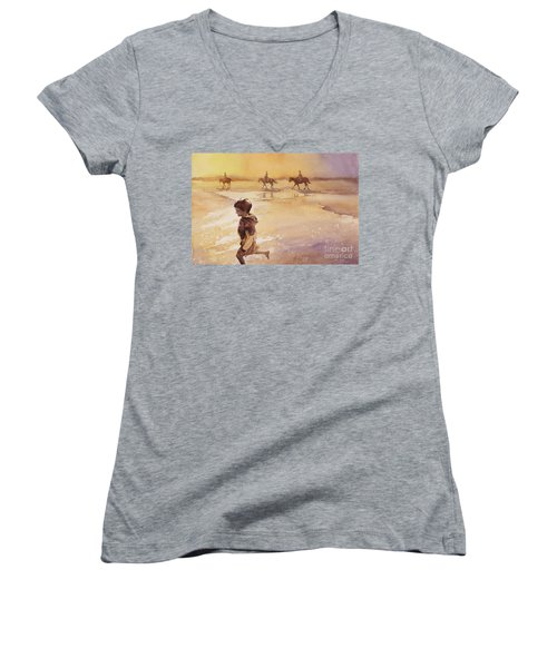 Women's V-Neck T-Shirt (Junior Cut) featuring the painting Child On Beach- Ocracoke Island, Nc by Ryan Fox