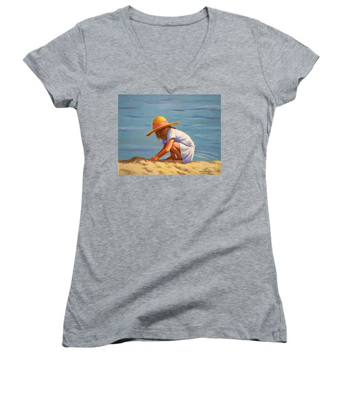 Child Playing In The Sand Women's V-Neck T-Shirt