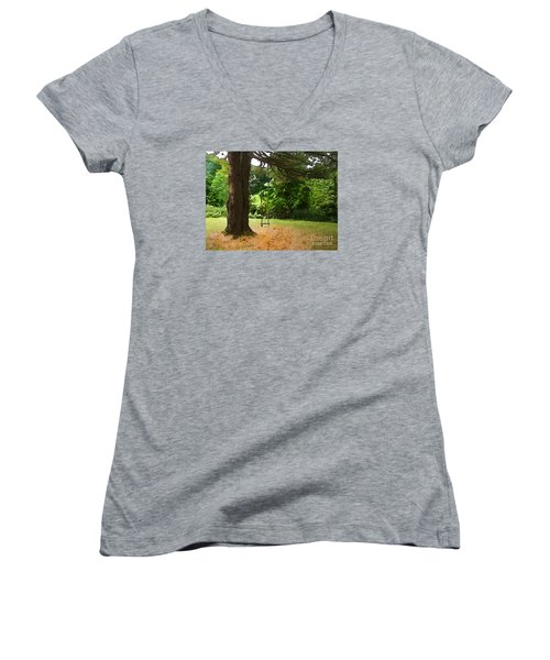Women's V-Neck T-Shirt (Junior Cut) featuring the photograph Childhood by Betsy Zimmerli