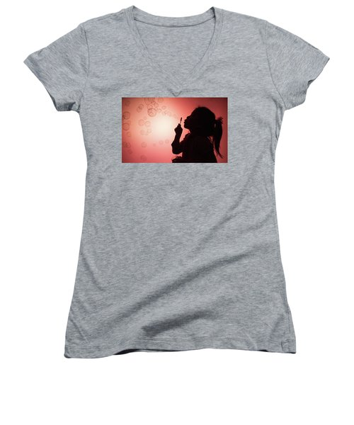 Women's V-Neck T-Shirt (Junior Cut) featuring the photograph Childhood Days by William Lee