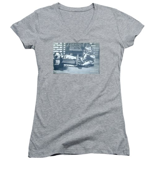 Women's V-Neck T-Shirt (Junior Cut) featuring the photograph Childhood Memories by Linda Phelps