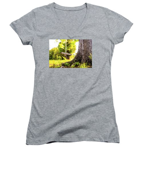 Women's V-Neck T-Shirt (Junior Cut) featuring the photograph Childhood Memories by Shelby Young