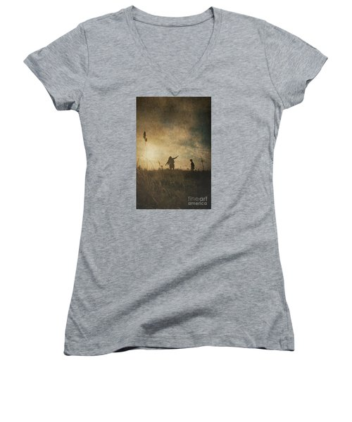 Children Playing Women's V-Neck T-Shirt