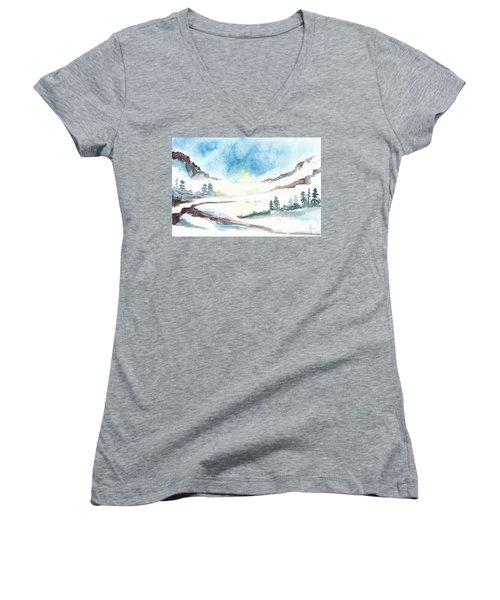 Children's Book Illustration Of Mountains Women's V-Neck T-Shirt (Junior Cut) by Annemeet Hasidi- van der Leij