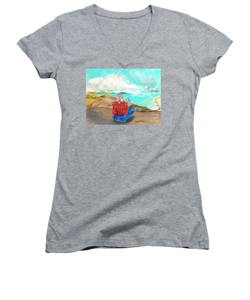 Chillin' Caricature Joe Women's V-Neck T-Shirt