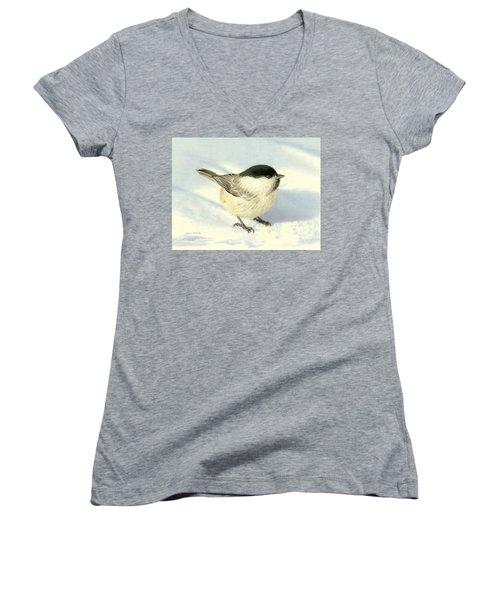 Chilly Chickadee Women's V-Neck T-Shirt