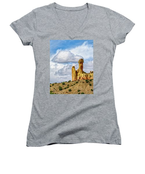 Chimney Rock  Women's V-Neck T-Shirt (Junior Cut) by Robert FERD Frank