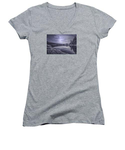 China Bend2 Women's V-Neck T-Shirt (Junior Cut) by Loni Collins