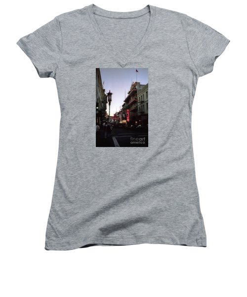 China Town San Francisco  Women's V-Neck T-Shirt