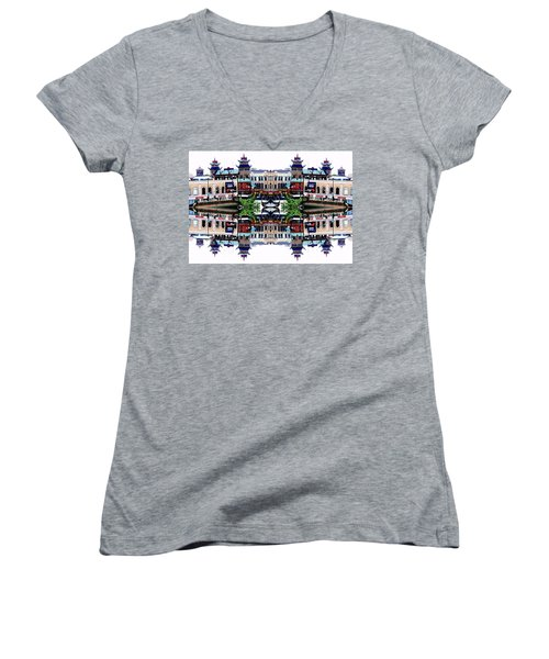 Chinatown Chicago 2 Women's V-Neck T-Shirt (Junior Cut) by Marianne Dow