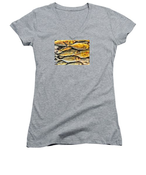 Chinatown Fish Market Nyc Women's V-Neck T-Shirt (Junior Cut) by Steve Archbold