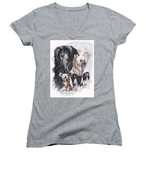 Chinese Crested And Powderpuff Medley Women's V-Neck