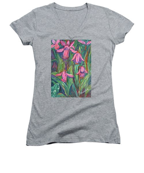 Women's V-Neck T-Shirt (Junior Cut) featuring the painting Chinese Orchids by Kendall Kessler