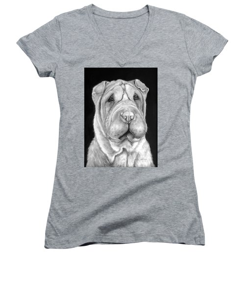 Chinese Sharpei Women's V-Neck (Athletic Fit)