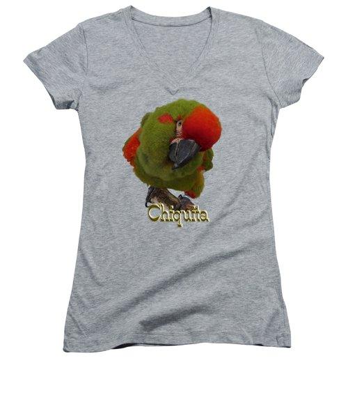 Chiquita, A Red-front Macaw Women's V-Neck T-Shirt (Junior Cut) by Zazu's House Parrot Sanctuary