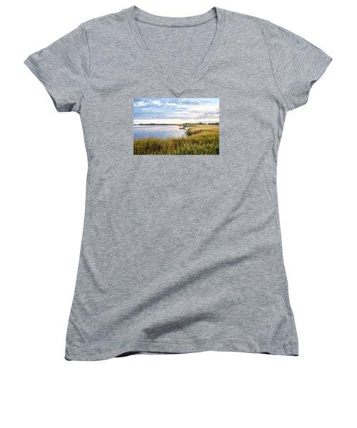 Chisolm Island Shoreline  Women's V-Neck T-Shirt (Junior Cut) by Scott Hansen