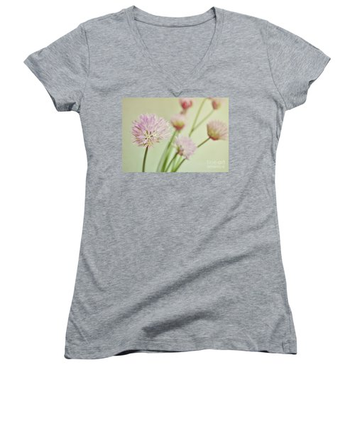 Chives In Flower Women's V-Neck T-Shirt (Junior Cut) by Lyn Randle