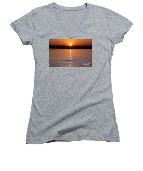 Chobe River Sunset Women's V-Neck T-Shirt (Junior Cut) by Myrna Bradshaw