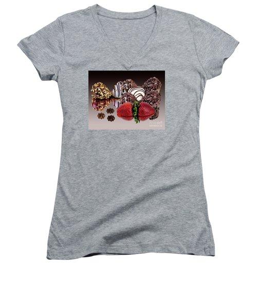 Chocolate And Strawberries Women's V-Neck T-Shirt (Junior Cut) by Shirley Mangini