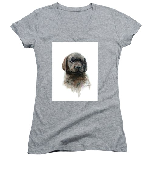 Chocolate Lab Puppy Women's V-Neck (Athletic Fit)