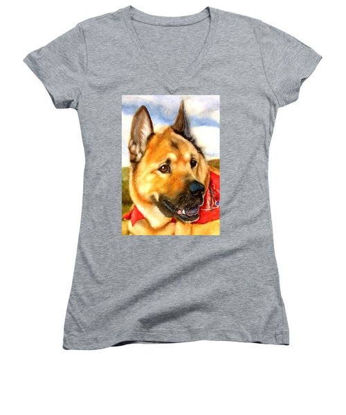 Chow Shepherd Mix Women's V-Neck T-Shirt (Junior Cut) by Marilyn Jacobson