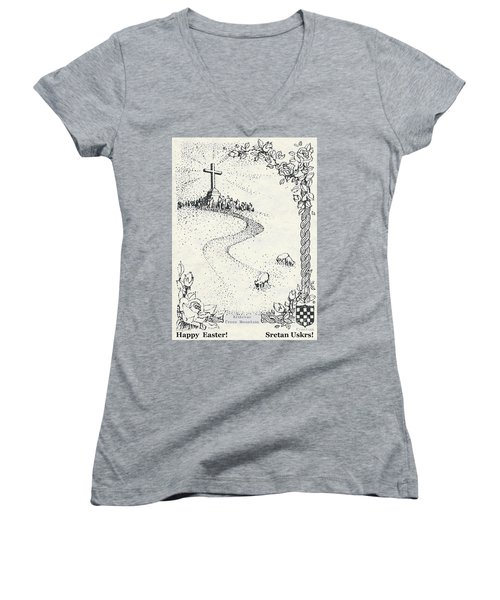 Women's V-Neck T-Shirt (Junior Cut) featuring the photograph Christ Is Risen  by Christina Verdgeline