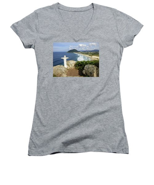 Christ Viewpoint At A Beach In Florianopolis, Brazil Women's V-Neck