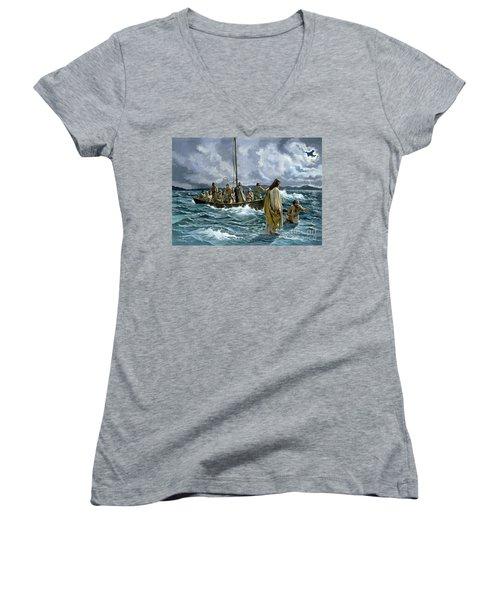 Christ Walking On The Sea Of Galilee Women's V-Neck