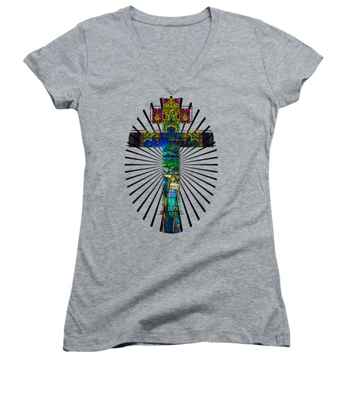 Christian Cross No 1 Women's V-Neck T-Shirt (Junior Cut) by Robert G Kernodle