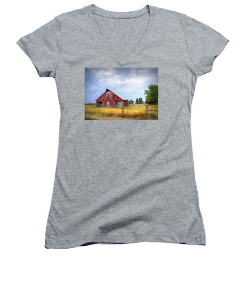Christian School Road Barn Women's V-Neck (Athletic Fit)
