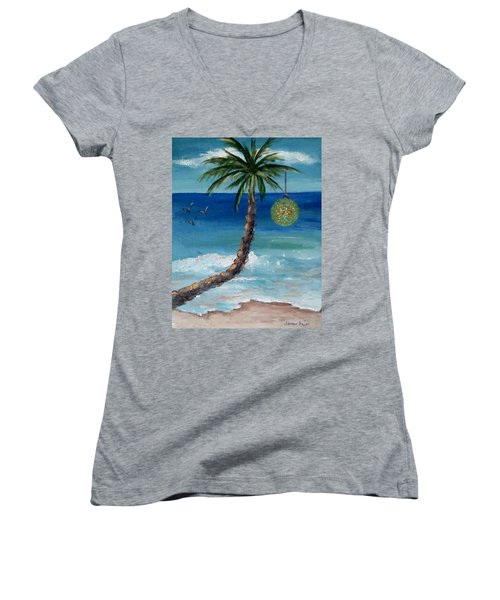 Women's V-Neck T-Shirt (Junior Cut) featuring the painting Christmas 2008 by Jamie Frier
