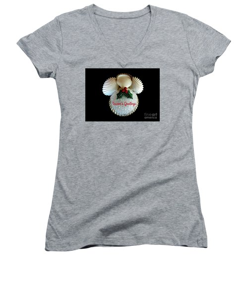 Christmas Angel Greeting Women's V-Neck (Athletic Fit)