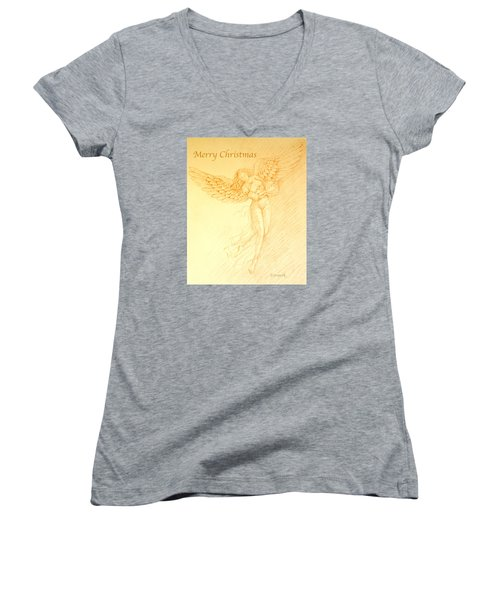 Christmas Angel With Harp Women's V-Neck T-Shirt (Junior Cut) by Deborah Dendler