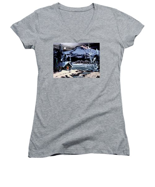 Christmas At The Lake V2 Women's V-Neck T-Shirt (Junior Cut) by Ron Chambers