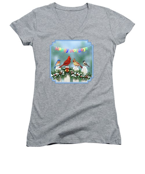 Christmas Birds And Garland Women's V-Neck T-Shirt (Junior Cut) by Crista Forest