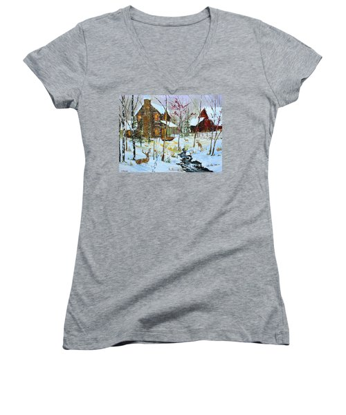 Christmas Cabin Women's V-Neck