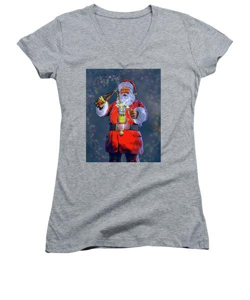 Christmas Cheer Iv Women's V-Neck T-Shirt (Junior Cut) by Dave Luebbert