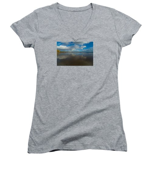 Women's V-Neck T-Shirt (Junior Cut) featuring the photograph Christmas Eve Early Gifts by Lora Lee Chapman