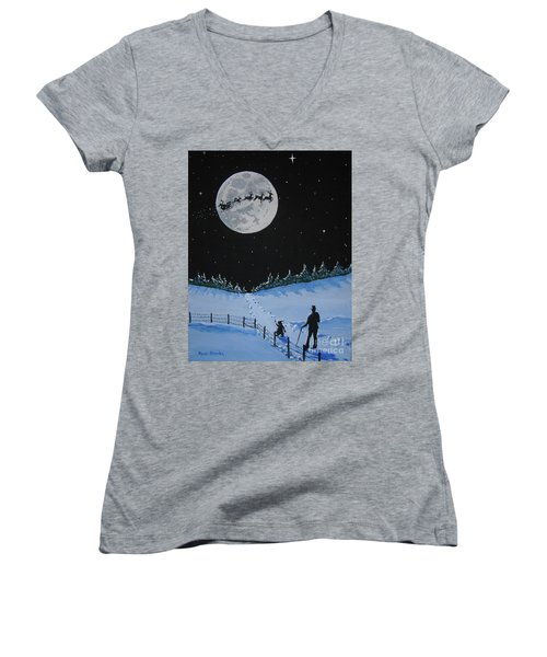 Christmas Eve Stroll Women's V-Neck (Athletic Fit)