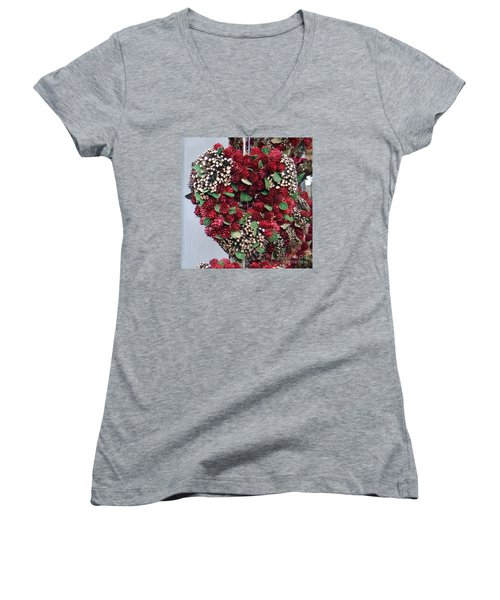Christmas Heart Women's V-Neck T-Shirt (Junior Cut) by Linda Prewer