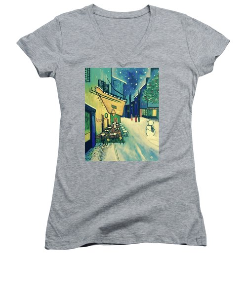 Women's V-Neck T-Shirt (Junior Cut) featuring the painting Christmas Homage To Vangogh by Victoria Lakes