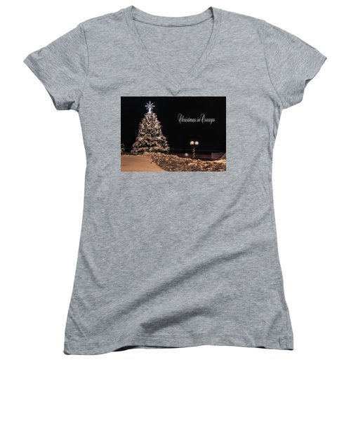 Women's V-Neck T-Shirt (Junior Cut) featuring the photograph Christmas In Oswego by Everet Regal