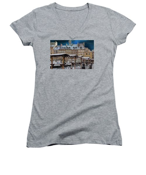 Women's V-Neck T-Shirt (Junior Cut) featuring the photograph Christmas In Warsaw by Juli Scalzi