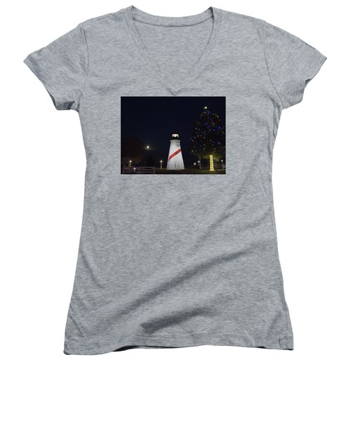 Christmas Lighthouse Women's V-Neck (Athletic Fit)