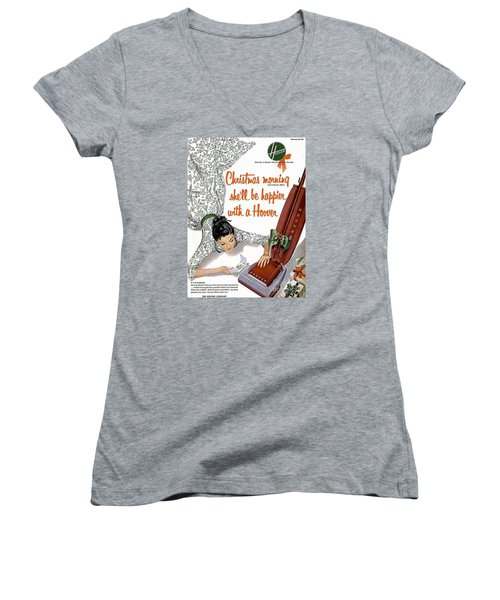 Christmas Morning She Will Be Happier With A Hoover Women's V-Neck (Athletic Fit)