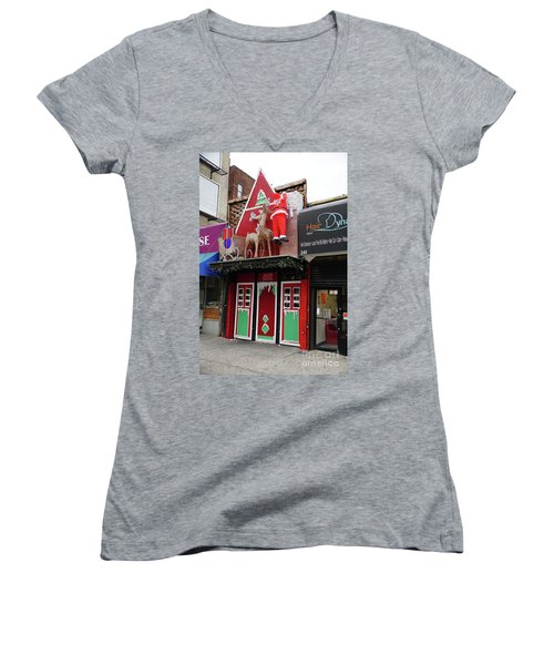Christmas On Sherman Avenue  Women's V-Neck T-Shirt (Junior Cut) by Cole Thompson