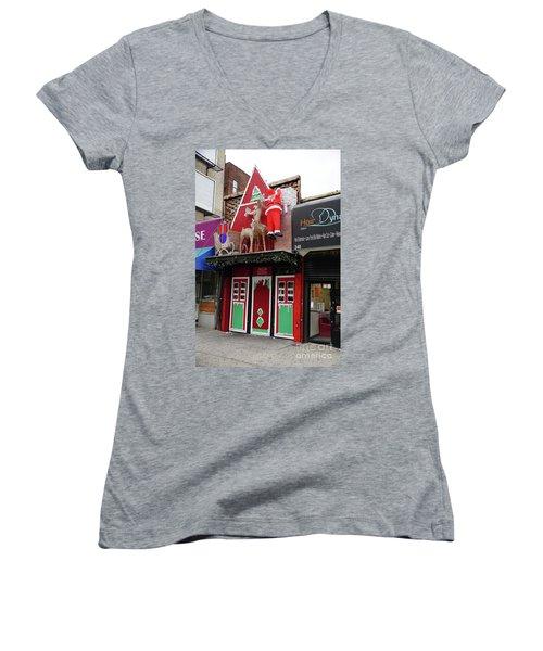 Christmas On Sherman Avenue  Women's V-Neck T-Shirt